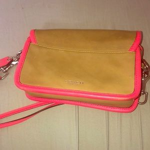 Coach tan and neon pink cross body bag